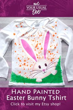This is a unique handpainted t shirt for your kid Birthday Gifts For Boys, Personalized Birthday Gifts, Bunny Face Paint, Happy Easter Bunny, Easter Funny, Etsy Handmade, Handmade Gifts, Handmade Items, Egg Hunt