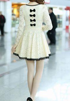 .Bowknot Long Sleeve Crochet Lace Shift Skater Dress.