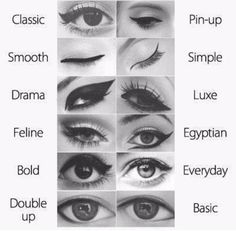 Different eyeliner wing styles.