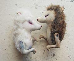mister finch art: textile hedgehog wall mounts