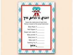 tlc61-twins-price-is-right-thing1-thing2-dr-suess-baby-shower-game #babyshowerideas4u #birthdayparty  #babyshowerdecorations  #bridalshower  #bridalshowerideas #babyshowergames #bridalshowergame  #bridalshowerfavors  #bridalshowercakes  #babyshowerfavors  #babyshowercakes