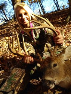 Marian Taylor Strange with her 10-point buck! See more great hunts on our Facebook page: https://www.facebook.com/pages/Non-Typical-Outdoors/473517176001331?sk=timeline deer, bucks, racks, apparel, country, southern, hunting