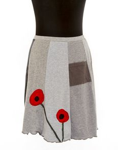 Upcycled recycled appliqué red tshirt skirt by sardineclothing