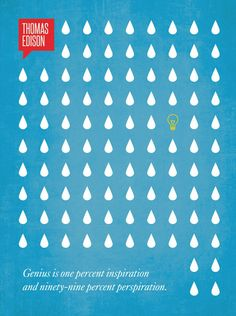 """genius is one percent inspiration and ninety-nine percent perspiration"" - Illustration depicts 99 droplets of sweat, with one great idea... minimalist print by Ryan McArthur"