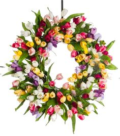 Wow!  Tulips Galore Spring Wreath  from Darby Creek Trading