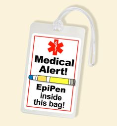 Allergy Alert - EpiPen Alert Bag Tag - Laminated Luggage Tags - Medical Conditions - Allergies
