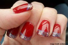 Red, Elegant and Chic Holidays  Chic Holidays    Color your nails deep red. Then, pick up your nail glitter powder and spread on the red nail polish, covering most of the top half of your fingernails but also deliberately allowing some of the specks to set on the lower half of your nails. You can alternate your nail colors with a metallic gold lacquer if desired.