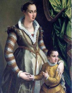Portrait of Isabella de Medici Orsini with her son Virginio by Alessandro Allori, 1574 - cakerecipespins. Italian Renaissance Dress, Mode Renaissance, Renaissance Clothing, Renaissance Fashion, 1500s Fashion, Renaissance Costume, Historical Costume, Historical Clothing, Female Clothing