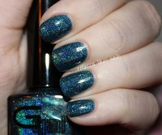 So in love with this! Glitter Gal Teal Blue from their new Holo line. Swatch by rebecca likes nails.