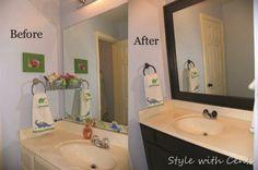 bathroom renovation using Rustoleum Oil Rubbed Bronze spray paint