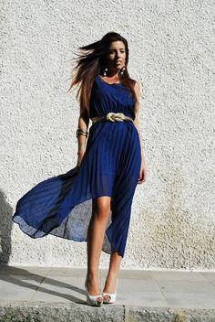 dress , tail hem, blue