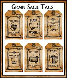 Each of these Grubby Distressed Tags features a Grain Sack Advertisement for Sheeps Wool just like those found in Country General Stores. The Tags would be great additions for your Potpourri Ornies Primitive Labels, Primitive Sheep, Primitive Crafts, Country Primitive, Primitive Sayings, Primitive Pictures, Primitive Patterns, Images Vintage, Vintage Tags