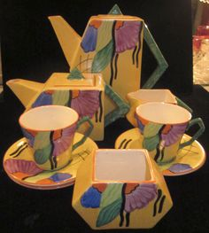 RARE 1935 Royal BOURBON Art Deco Coffee / TEA Set #RoyalBourbon
