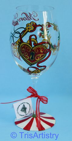 Hand Painted Mon Amour Valentine Wine Glass