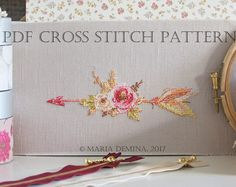 Watercolor Arrow With Flowers PDF cross stitch pattern / instant download; pattern finish picture available