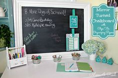 Mirror Turned Chalkboard with Clips for Organizing Papers.  #Wicklessmolly