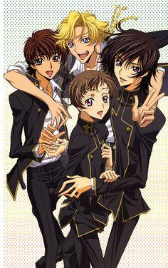 Lelouch, Gino, Rolo and Suzaku, Code Geass