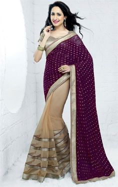 Picture of Majesty Purple and Biscuit Cream Color Saree