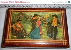 ON SALE Wood Box Red Satin Doubled Handmade by SophieLadyDeParis, $34.20