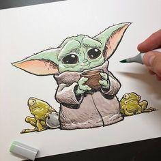 Star Wars Drawings, Art Drawings Sketches, Disney Drawings, Cartoon Drawings, Easy Drawings, Star Wars Desenho, Desenhos One Direction, Yoda Drawing, Star Wars Baby
