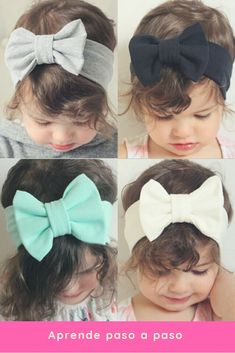 Como hacer diademas elásticas para niñas paso a paso.  #hairbow #niñas #modainfantil Diy Baby Headbands, Diy Hair Bows, Making Hair Bows, Diy Bow, Diy Ribbon, Baby Bows, Ribbon Flip Flops, Baby Hair Bands, Patchwork Baby