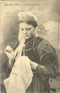 brodeuse Bretonne - embroidering Breton young lady. Maybe sewing/needle lace?