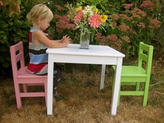 Painting In Portland: Pink and Green Little Kids Table & Chairs
