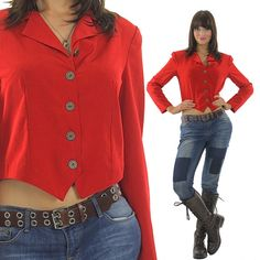 1adb7a515e84b5 Red jacket top Vintage 90s corset top shirt Corset blouse buttoned top Crop  top Cropped jacket