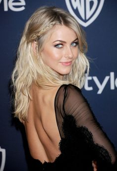 Golden Globes 2014: Julianne Hough. Beachy & messy boho hair with braids. Medium length.