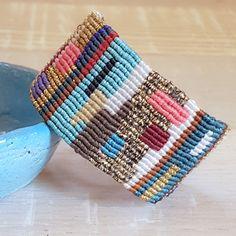 Colorful patchwork macrame bracelet