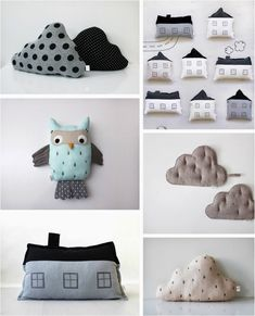 minimalist pillow design can bring fun to any type of room décor. Being it a house or a cloud or a fluffy animal, the imagination has no limits. ➤ Discover the season's newest designs and inspirations for your kids. Visit us at minimalist pillow desi. Owl Cushion, Cloud Cushion, Sewing For Kids, Diy For Kids, 5 Kids, Minimalist Pillows, Kids Bedroom Designs, Bedroom Ideas, Diy Bebe