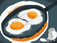 Egg Love (in a frying pan) by Ilias Sounas via dribbble