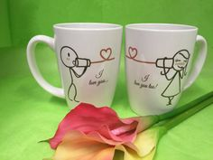 Couple mugs, stick figures art, true love, personalized ceramic mugs, ceramic gifts, unique personalized gifts, customized couples gift