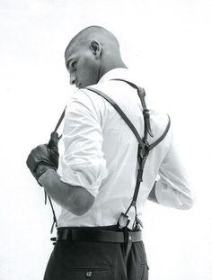 crisp white shirt + slightly kinky suspenders Braces Suspenders, Leather Suspenders, Dandy, Leather Braces, Leather Gloves, Men In Black, Crisp White Shirt, White Shirts, Its A Mans World