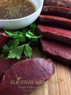 The best marinade for Elk Steaks. Simple and full of flavor. 1 cup olive oil, 1 shallot, 3 garlic cloves, 1 tsp cumin, 1 tsp oregano and 1/2 teaspoon kosher salt.