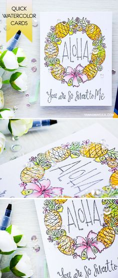 Create a quick card using Simon Says Stamp pre-printed watercolor cards. Aloha - pineapples!  Colored with Derwent Inktense Pencils. For details, visit http://www.yanasmakula.com/?p=54232
