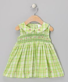 Take a look at this Green Plaid Rose Smocked Dress - Infant by the Mini Sissy on #zulily today!