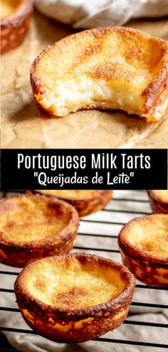 Portuguese Milk Tarts Queijadas de Leite are a traditional Portuguese dessert recipe made with simple ingredients Milk sugar butter eggs and a little flour bake. No Egg Desserts, Easy Desserts, Delicious Desserts, Yummy Food, Strawberry Desserts, Desserts With No Sugar, Simple Dessert Recipes, Healthy Food, Milk Recipes