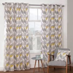 Delta Grey & Yellow Luxury Lined Eyelet Curtains (Pair)