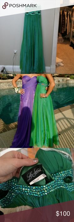 Green prom dress! Worn once to prom! Love how the iridescent it is when the light hits it! I am 5'1 and got it shortened to fit my height when I wore about three inch heels. La Femme Dresses Prom