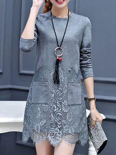 Round Neck Decorative Lace Patch Pocket Plain Polyester Shift Dress - fashionMe.com