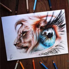 by on IG - lion's soul - Surreal eye drawing realized with colored pencils. With this drawing I want to highlight the wild side of the human being! Hope you like it guys 🦁 ♥🌸♥WOW! Realistic Eye Drawing, Human Drawing, Human Art, Abstract Drawings, Animal Drawings, Pencil Drawings, Art Drawings, Lion Eyes, Prophetic Art