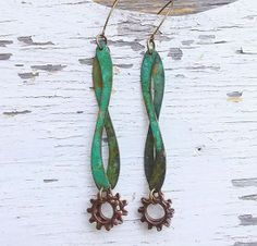 Verdigris earrings long wavy copper earrings by TheBeadedPaths, $18.00