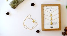 A locket necklace set for Mom and her 2 Daughters that everyones going to love! These 3 tiny vintage brass teardrop lockets are hung on 18 inch chain and carded for super easy gifting. Cut tiny photos, tiny notes, keep seeds of your favorite flowers, or anything sweet and special