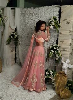 Love the color and soft net with dull silver Bollywood Lehenga, Bollywood Fashion, Bollywood Style, Pakistani Bridal, Indian Bridal, Ethnic Fashion, Asian Fashion, Indian Dresses, Indian Outfits