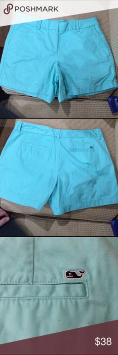 Vineyard Vines Aqua shorts size 14 Vineyard Vines Aqua shorts size 14.  Beautiful Aqua blue cotton shorts size 14.   14 1/2 inch from hip to hem.  35 inch waist. Vineyard Vines Shorts