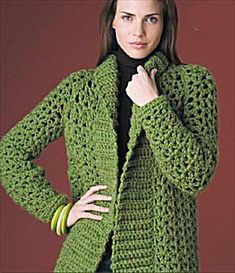 Crochet Blusas Patterns Ravelry: Country Car Coat pattern by Lion Brand Yarn - Pull Crochet, Crochet Coat, Crochet Scarves, Crochet Shawl, Crochet Clothes, Free Crochet, Crochet Sweaters, Crochet Lion, Crochet Stitches