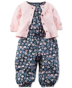 Carter's Baby Girls' 2-Piece Sweater & Floral-Print Romper Set - Baby Girl (0-24 months) - Kids & Baby - Macy's