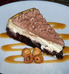 Brownie Bottom Cheesecake with Nutella Whip