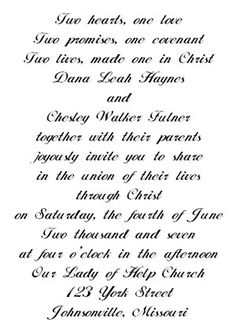WORDING I like the first few lines and ... the union of their lives through Christ...